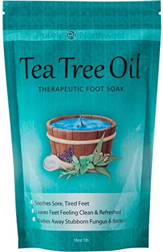 Tea Tree Oil Foot Soak With Epsom Salt, Helps Soak Away Toenail Fungus , Athletes Foot & Stubborn Foot Odor – Softens Calluses & Soothes Sore Tired Feet -16 oz